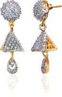 Alysa Aamolika 18K Yellow Gold, Rhodium Plated Cubic Zirconia Brass, Alloy, Silver Jhumki Earring