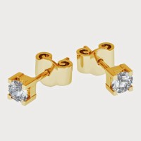 Aiza 18K Yellow Gold Plated 18 K Diamond Gold Stud Earring - ERGEYUXWXJ6TSGBY