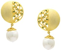 Pearls Cart Ad Stone Studded Peacock Theme Style Alloy Drop Earring - ERGEDKRQTWJEMGCH