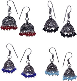 11Girls Beautiful German Silver Jhumki Combo of 4 Pairs Alloy Earring Set