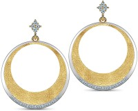 CaratLane Hammered Crescent 18K Yellow Gold Plated 18 K Diamond Gold Drop Earring