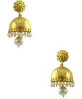 Orniza Rajwadi Earrings In Pearl Color And Golden Polish Brass Jhumki Earring