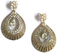 Fabula Gold & White Zircon American Diamond AD CZ & Pearl Traditional Ethnic Jewellery Filigree For Women, Girls & Ladies Metal Drop Earring
