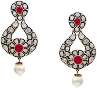 Pearls Cart Ad Stone Studded Peacock Theme Style Alloy Drop Earring