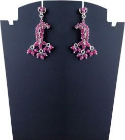 Rasianve Precious Jewellery RO1246 Ruby Silver Drop Earring