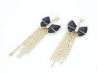 Cinderella Collection By Shining Diva Black & Golden CZ Alloy Tassel Earring