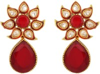 Rajwada Arts Red Stones With Enamel Brass Drop Earring