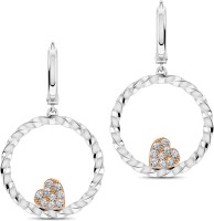 CaratLane Crystalline 18K White Gold, 18K Rose Gold Plated 18 K Diamond Gold Hoop Earring