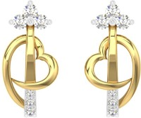 TBZTheOriginal TBZ - The Original 18KT Yellow Gold Workwear Heart Stud Earring With 0.12cts Diamonds Yellow Gold 18kt Diamond Stud Earring