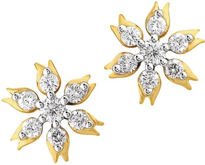 Nakshatra Spring Sparkle 18K Yellow Gold Plated 18 K Diamond Gold Stud Earring