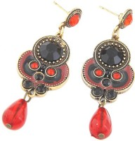 Cinderella Collection By Shining Diva Black & Red Crystal Alloy Drop Earring