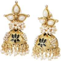 The Jewelbox Lotus Pearl Copper Jhumki Earring