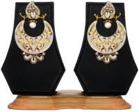 Beingwomen Elegant White Deepika Padukone Inspired Gold Platated With Stone Studded Meenakari Alloy Chandbali Earring