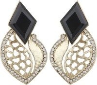 Radius Black Stone Cutting Work Style Zircon Metal Drop Earring