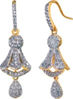 Alysa Aabeeda 18K Yellow Gold, Rhodium Plated Cubic Zirconia Brass, Alloy, Silver Jhumki Earring