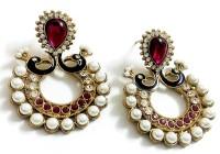Glittering World Designer Peacock Style Pink Stone Alloy, Enamel Chandbali Earring