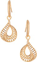 Voylla Artificial Classic Plain Yellow Gold Plated Cubic Zirconia Alloy Dangle Earring