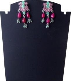 Rasianve Precious Jewellery RO1280 Ruby, Emerald Silver Drop Earring