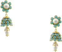 Orniza Victorian Fancy Earrings In Turquoise Color And Golden Polish Brass Jhumki Earring