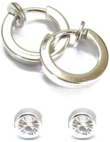 Vaishnavi Clip Magnet On 2 Combo For Non-Pierced Ears Silver Plated Alloy Earring Set