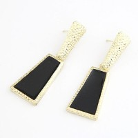Cinderella Collection By Shining Diva Black & Golden Alloy Drop Earring