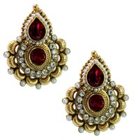 Beingwomen Elegant Gold-Plated With Kundan Studded Fashion Yellow Gold Plated Alloy Stud Earring
