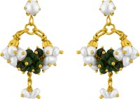 Jpearls White & Green Banjara Balis Yellow Gold Plated Pearl Alloy Drop Earring