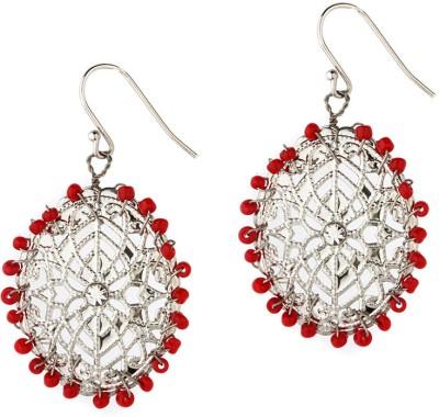 Alloy Trinketbag Red Jaali Alloy Drop Earring (Multicolor)