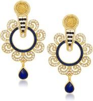 Meenaz Stunning Blue And White Moti Designer Kundan Cubic Zirconia Alloy Chandelier Earring
