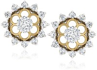 Forevercarat Starry Blossoms 14K Yellow Gold Plated Diamond Silver Stud Earring