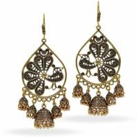 Jaipur Mart Oxidized Gold Finish Dangler With For Women Brass Dangle Earring