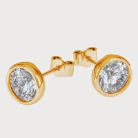 Aiza 18K Yellow Gold Plated 18 K Diamond Gold Stud Earring - ERGEYUXWGX9PRKFH