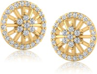 Forevercarat Feminine 14K Yellow Gold Plated Diamond Silver Stud Earring