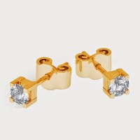 Aiza 18K Yellow Gold Plated 18 K Diamond Gold Stud Earring - ERGEYUXWFNGRCKGW