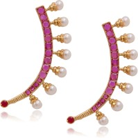 Hyderabad Jewels Beautiful Rhodium Pearl Copper Cuff Earring