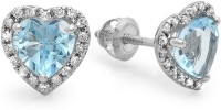 Kavya Jewels Heart 10K White Gold Plated 10 K Diamond, Topaz White Gold Stud Earring