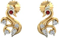Aurobliss.com Graceful Swan 18 K Cubic Zirconia Yellow Gold Stud Earring