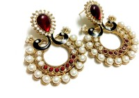 Glittering World Designer Peacock Style Red Stone Alloy, Enamel Chandbali Earring
