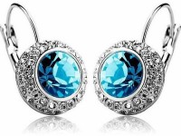 Silver Shoppee Circle Of Love Rhodium Plated Crystal, Cubic Zirconia Metal Drop Earring