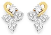 Johareez White Cubic Zirconia Two Tone Plated Brass Floral Shape Earrings Cubic Zirconia Brass Stud Earring