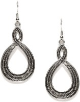 Toniq Silver Twist Metal Dangle Earring