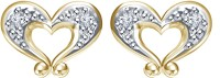 Devina Jewels 14K Yellow Gold Plated 14 K Diamond Silver Stud Earring