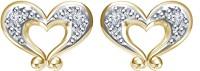 Devina Jewels 14K Yellow Gold Plated 14 K Diamond Silver Stud Earring
