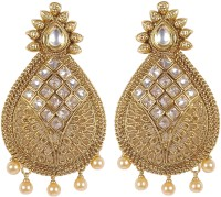 Muchmore Beautiful Partywear Collection Gold Plated Bollywood Style Polki For Women's Ethnic Jewelry Crystal Alloy Earring Set