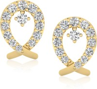 Forevercarat Dazzling 14K Yellow Gold Plated Diamond Silver Stud Earring
