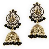 Jaipur Mart Partywear Black Metal Black Beaded Yellow Gold Alloy Jhumki Earring