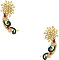 Orniza Chequered Polki Earrings In Pearl Color And High Gold Polish Brass Cuff Earring