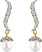 American Diamond Beautiful Snake 18K Yellow Gold, Rhodium Plated Diamond, Pearl Copper, Brass Drop Earring