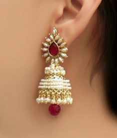 La Amber Traditional Jhumki Brass Jhumki Earring