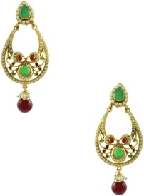 Orniza Rajwadi Earrings in Ruby & Emerald Color and Golden Polish Brass Chandbali Earring
